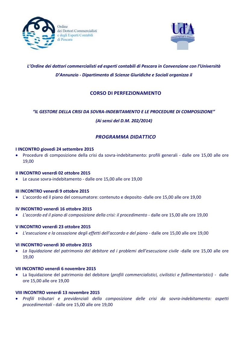 Ordine dei dottori commercialisti e degli esperti for Gestore della crisi da sovraindebitamento